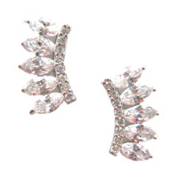 Sterling and C.Z. Fancy Graduated Marquise Stud Earring