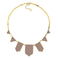House of Harlow Classic Leather Station Necklace-Khaki