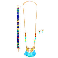 Bohemian Choker & Longer Bali Tassel Necklace Blue