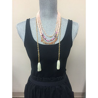 Triple Beaded Strands with Leather Tassels 2