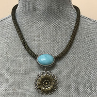 Large Turquoise Oval and Flower Medallion Necklace