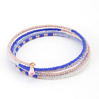 Wire Coiled Seed Bead Bracelets with Tiny Tassel