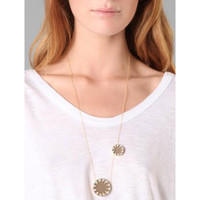 House of Harlow Double Sunburst Necklace-Khaki