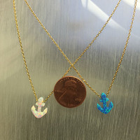 Blue Opal Resin Anchor Necklace