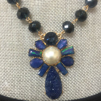 Blue Beaded & Druzy Statement Flower Necklace