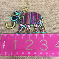 Long Embellished Elephant Pendant