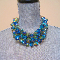 Peacock Crystal Cluster Collar