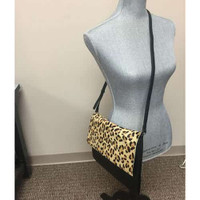 Leopard Hair Calf and Leather Folder Over Clutch