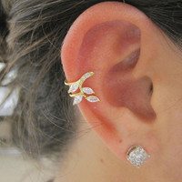 Stunning C.Z. Falling Leaves Ear Cuff 1
