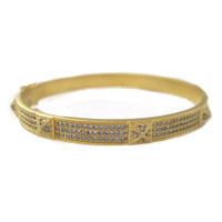 Gold Pave C.Z. Bracelet with Pyramid Details