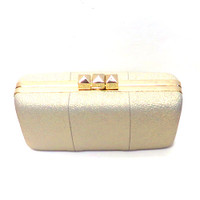 """Sondra Roberts """"Red Carpet"""" Faux Leather Silver Clutch"""