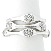 Silver Crystal Cluster Stackable Ring