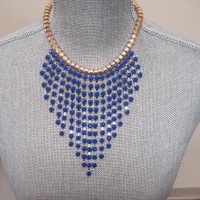 The Fringe Necklace in Blue