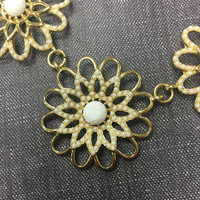 White and Gold Floral Necklace