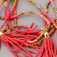 Coral Beaded Double Strand Tassel Necklace