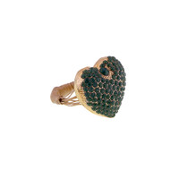 Emerald Green Pave Heart Wire Ring