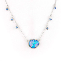 Blue Opal Resin Oval Necklace