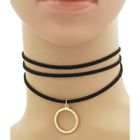 Simple Circle Black Suede Multi-Strand Choker