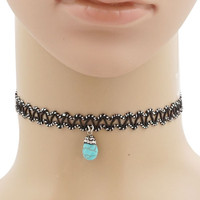 Ric-Rac Trim Choker With Turquoise Drop