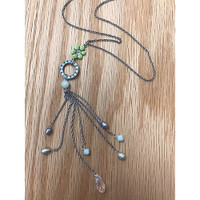 Enamel Flower and Loop Dangle Necklace
