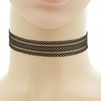 Black Felicia Cotton Lace Choker