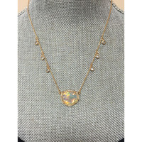 Golden Opal Resin Oval Necklace