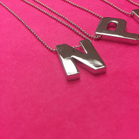Polished Silver Block Initial Necklace