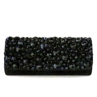 Faceted Jet Black Stone Clutch