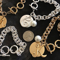 Initial Monogram Linked Chain Toggle Bracelet