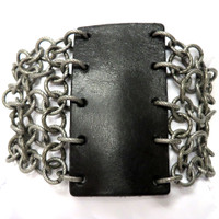 Rock 'on Leather and Chain Cuff