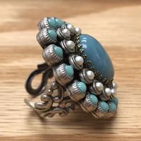 Amazonite and Pearls Ring