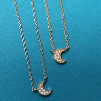 Our Mini Crescent Moon CZ Necklace