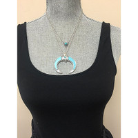 Layered Turquoise Crescent Necklace