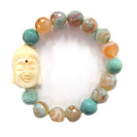 Natural Teal Agate Stones with Buddha