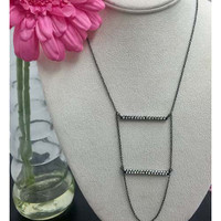 Black Metal Two Tier Crystal Ladder Necklace
