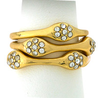 Gold Crystal Cluster Stackable Ring
