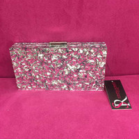 Silver Crackle Box Clutch by Sondra Roberts  (as seen in Oct. Glamour Magazine)