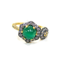 Freida Rothman's Green Cabochon and Circle Ring