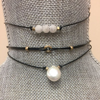Set of Three Simple Leather Chokers 2