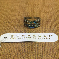 Sorrelli Double Row of Blue Brocade Crystals Ring