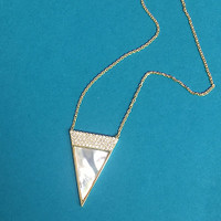 Gold Mother-of-Pearl Triangle Necklace