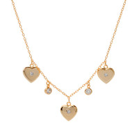 Triple Heart and CZ Station Necklace 1