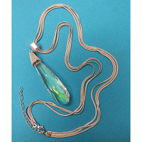 Large Wishing Crystal Pendant Necklace in Silver