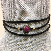 Genuine Ruby & Champagne Diamond Suede Choker