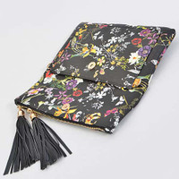 Black Floral and Tassel Clutch