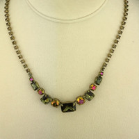 Sorrelli's Green Tapestry Olivine and Amber AB Crystal Necklace