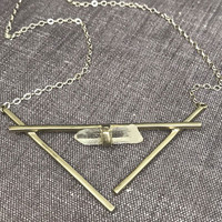 Raw Crystal Cradle Necklace in Silver
