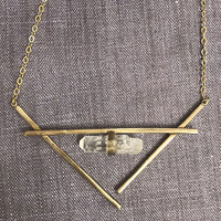 Raw Crystal Cradle Necklace in Gold