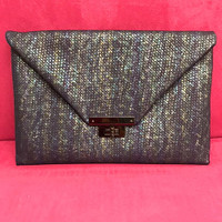 Sondra Roberts Embossed Weave Envelope Clutch in Blue