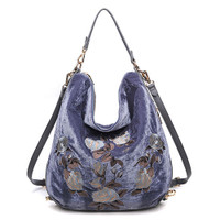 Floral Embroidered Velvet Shoulder/CrossBody Slate